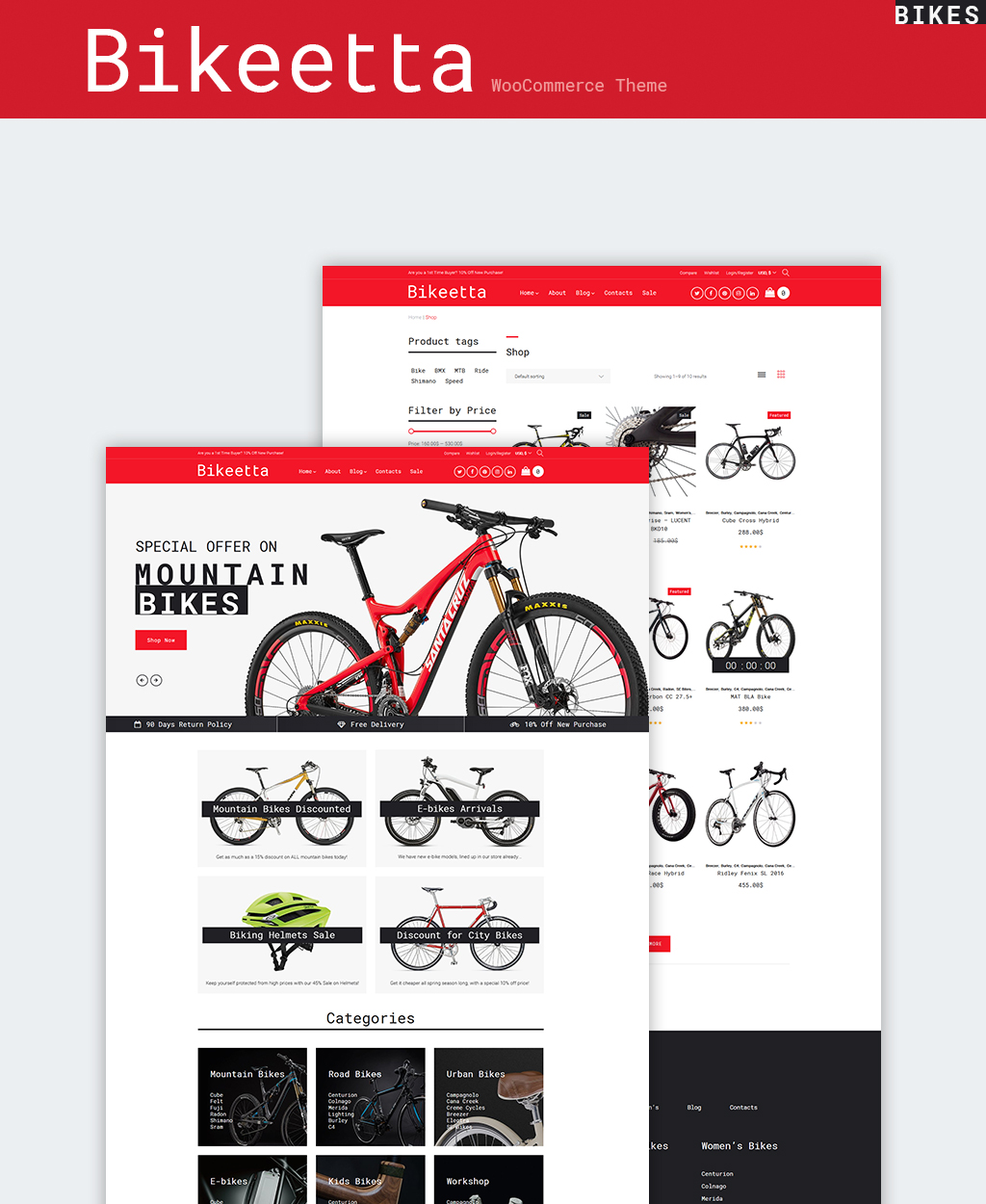 """""""Bikeetta - Bikes Store"""" Responsive WooCommerce Thema №64658"""