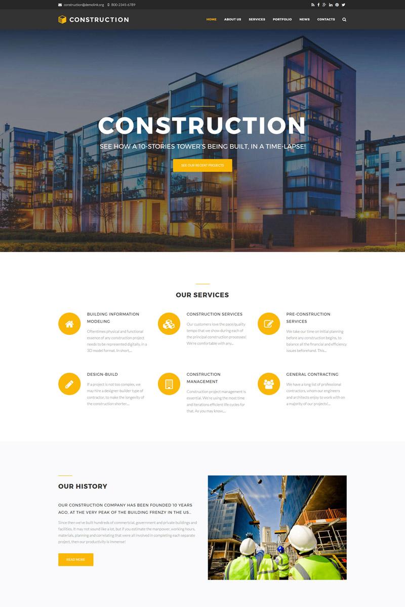 """""""Construction Company Premium"""" Drupal Template №64645"""