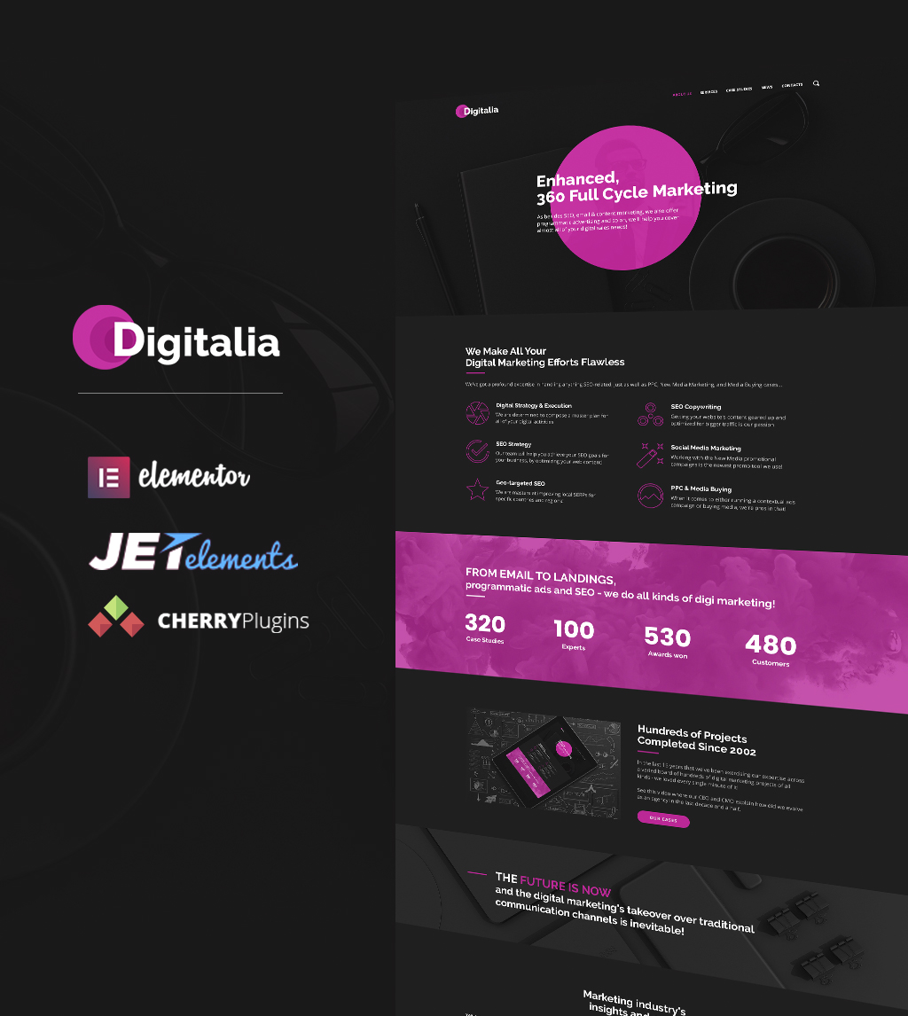 """Digitalia - Digital Agency WordPress Theme"" 响应式WordPress模板 #64661 - 截图"