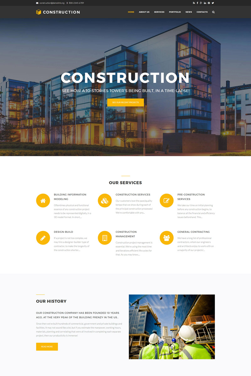 "Drupal šablona ""Construction Company Premium"" #64645"