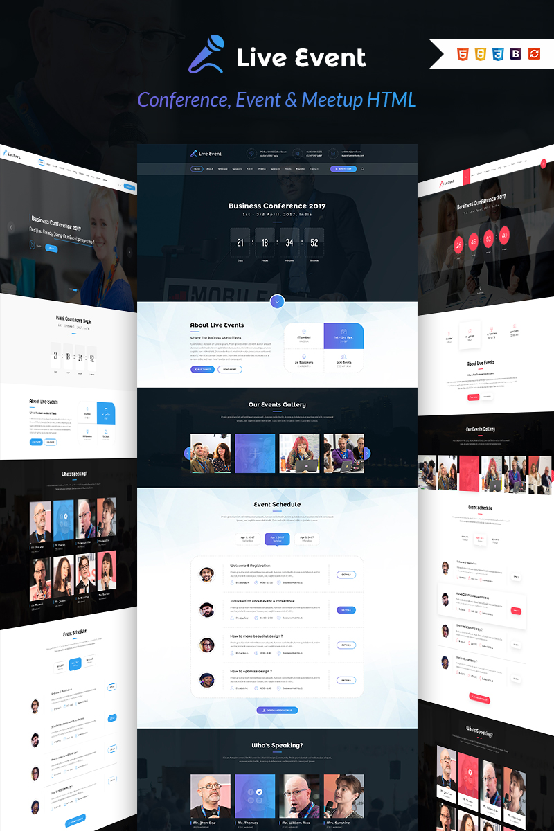 Live Event - Conference, Event & Meetup Landing Page Template - screenshot