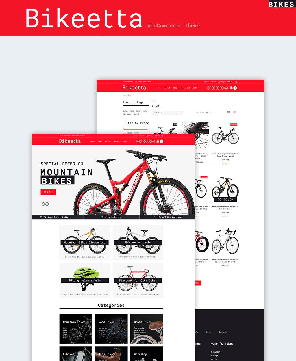 """Modello WooCommerce Responsive #64658 """"Bikeetta - Bikes Store"""""""