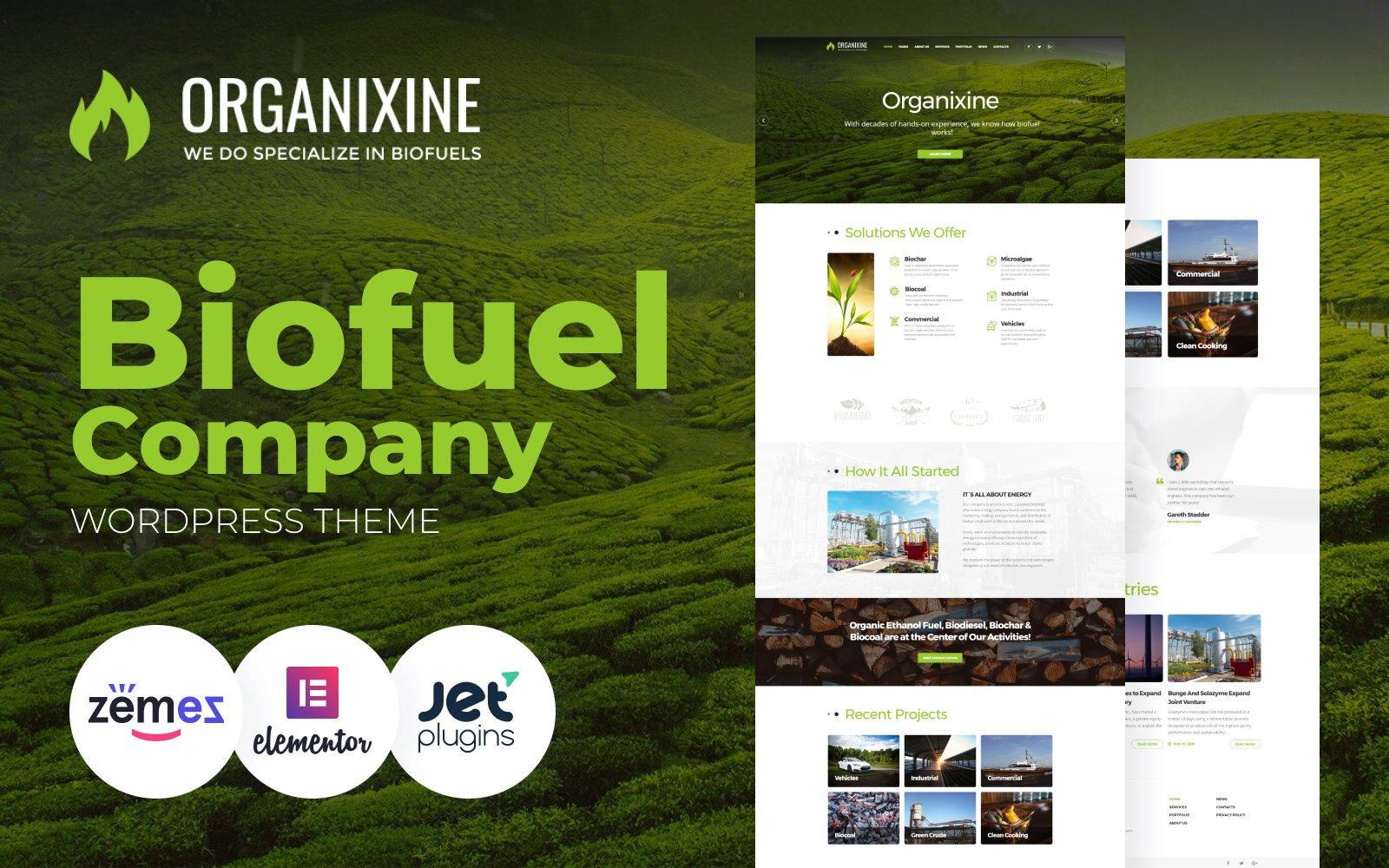 """Organixine - Biofuel Company"" - адаптивний WordPress шаблон №64672"