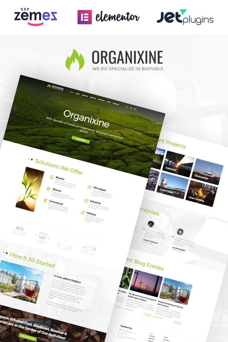 """Organixine - Biofuel Company WordPress Theme"" - адаптивний WordPress шаблон №64672"