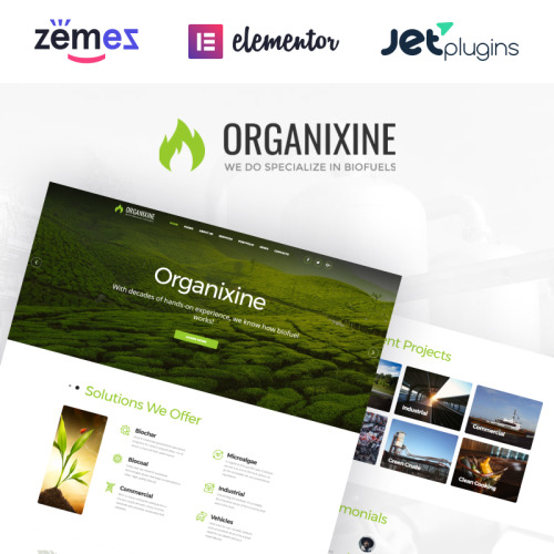 Organixine - Biofuel Company WordPress Theme - HTML5 WordPress Template