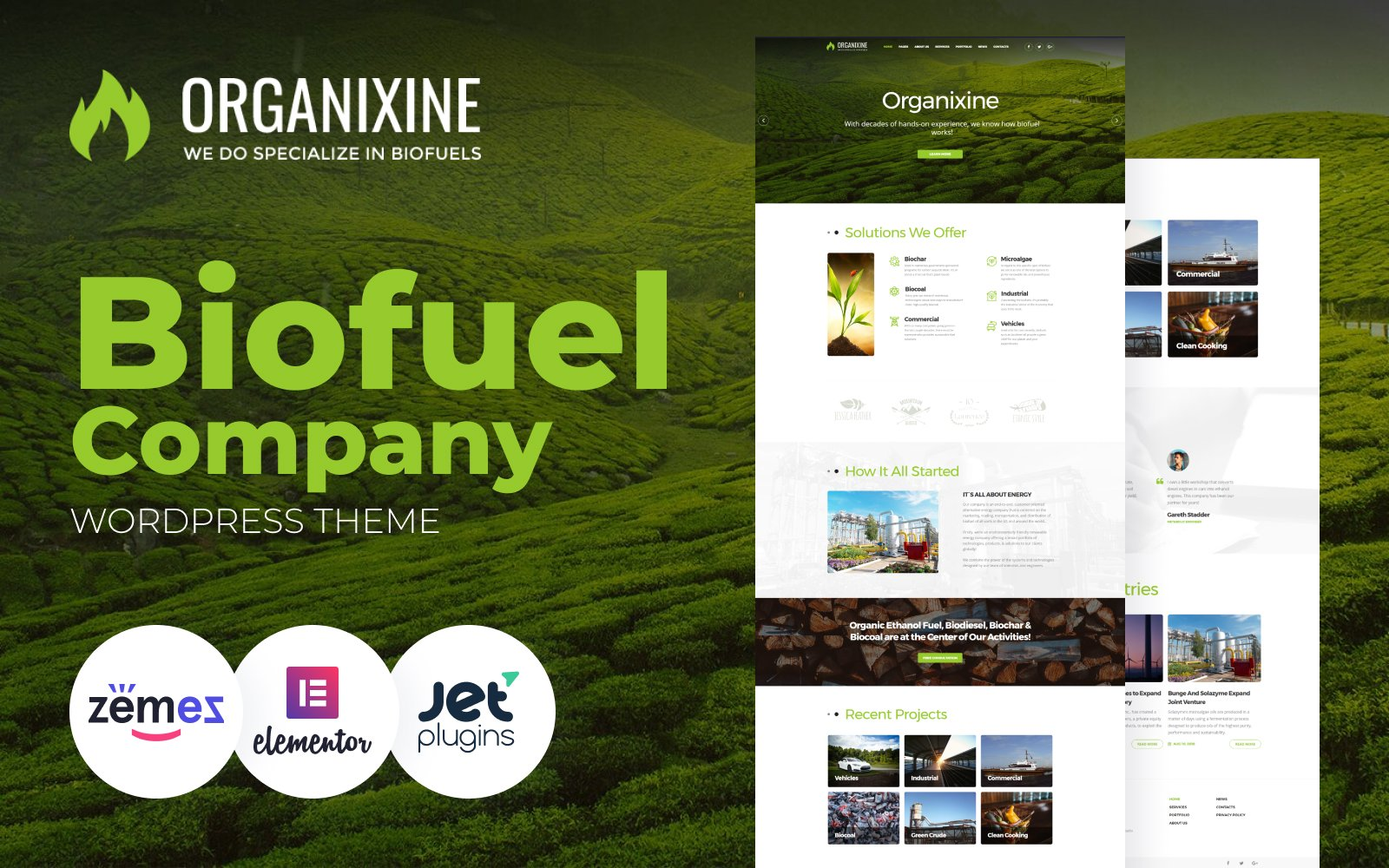 """Organixine - Biofuel Company"" 响应式WordPress模板 #64672"