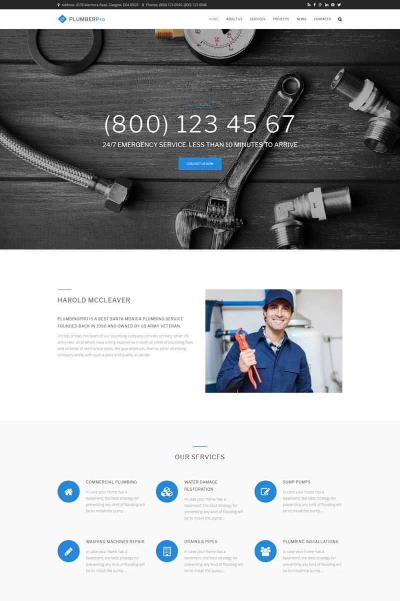 """Plumberpro - Plumbing Service Premium"" - Drupal шаблон №64646"