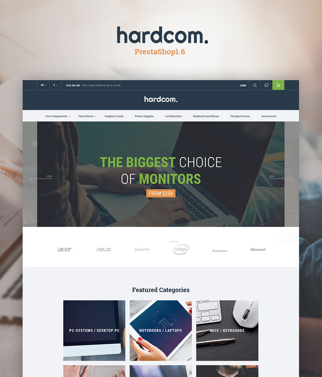 Responsivt Hardcom PrestaShop-tema #64654