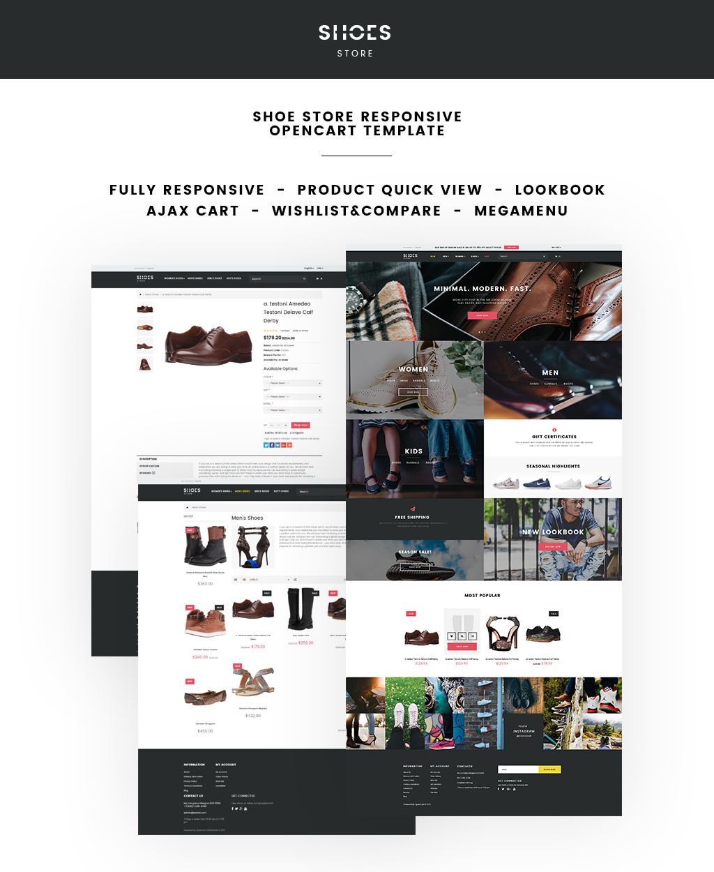 Shoe store responsive opencart template 64640 for Opencart bookstore template