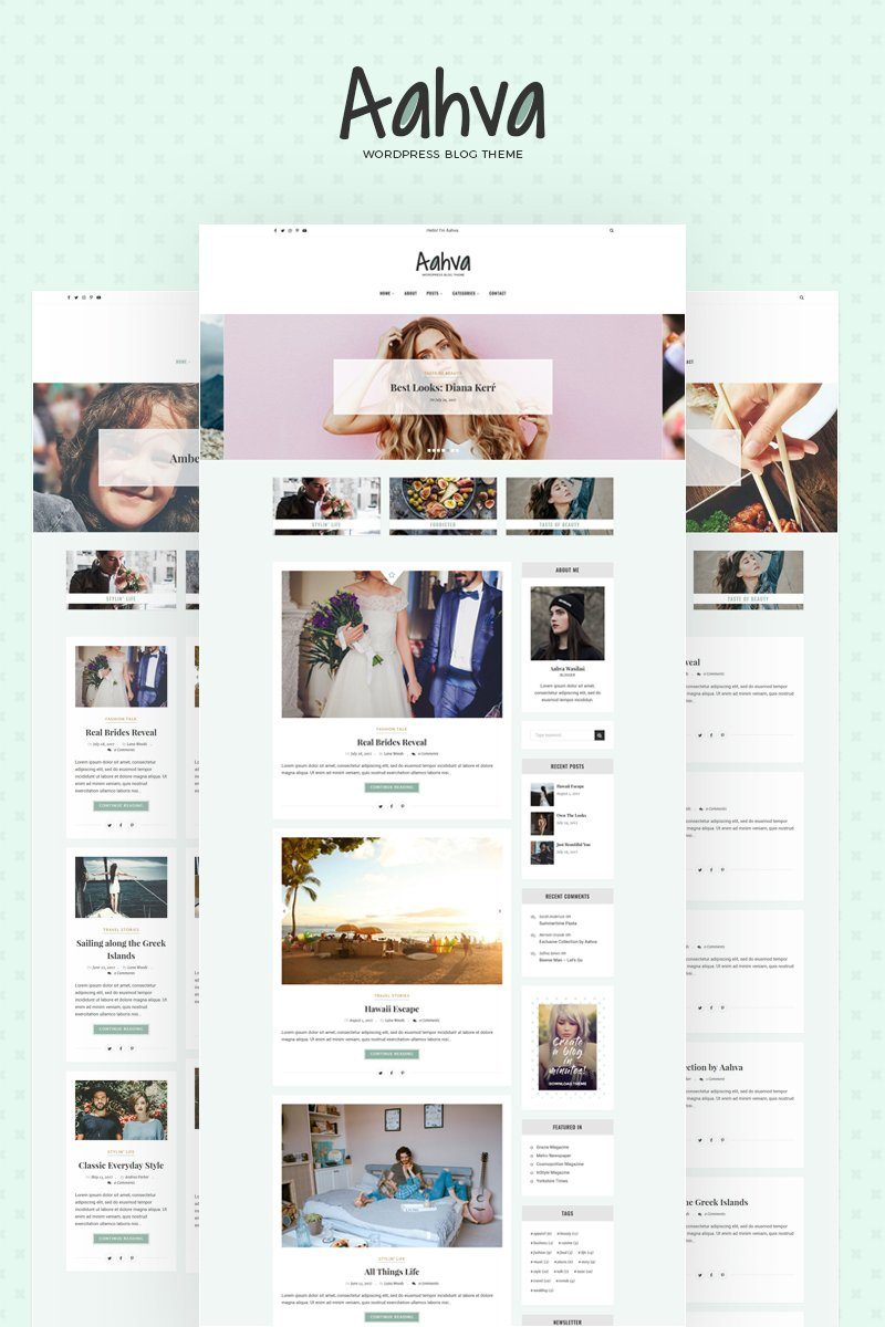 "Tema De WordPress ""Aahva WordPress Blog Theme"" #64690 - captura de pantalla"