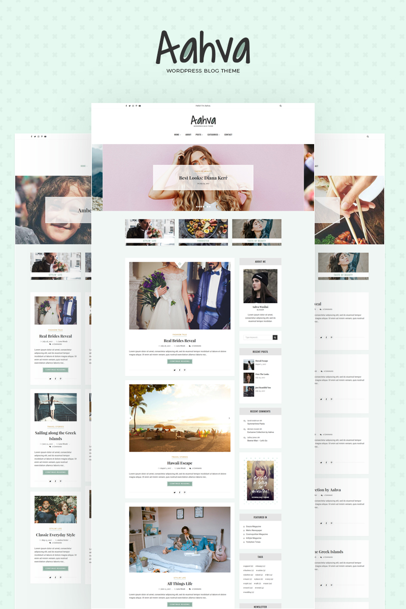 "Template WordPress Responsive #64690 ""Aahva WordPress Blog Theme"" - screenshot"