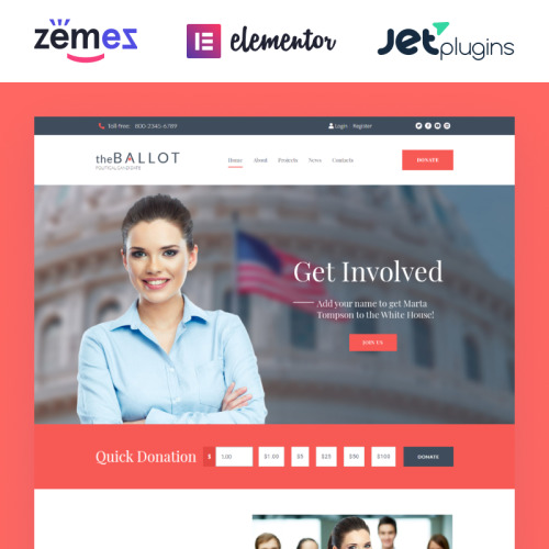 The Ballot - HTML5 WordPress Template for Political Candidates