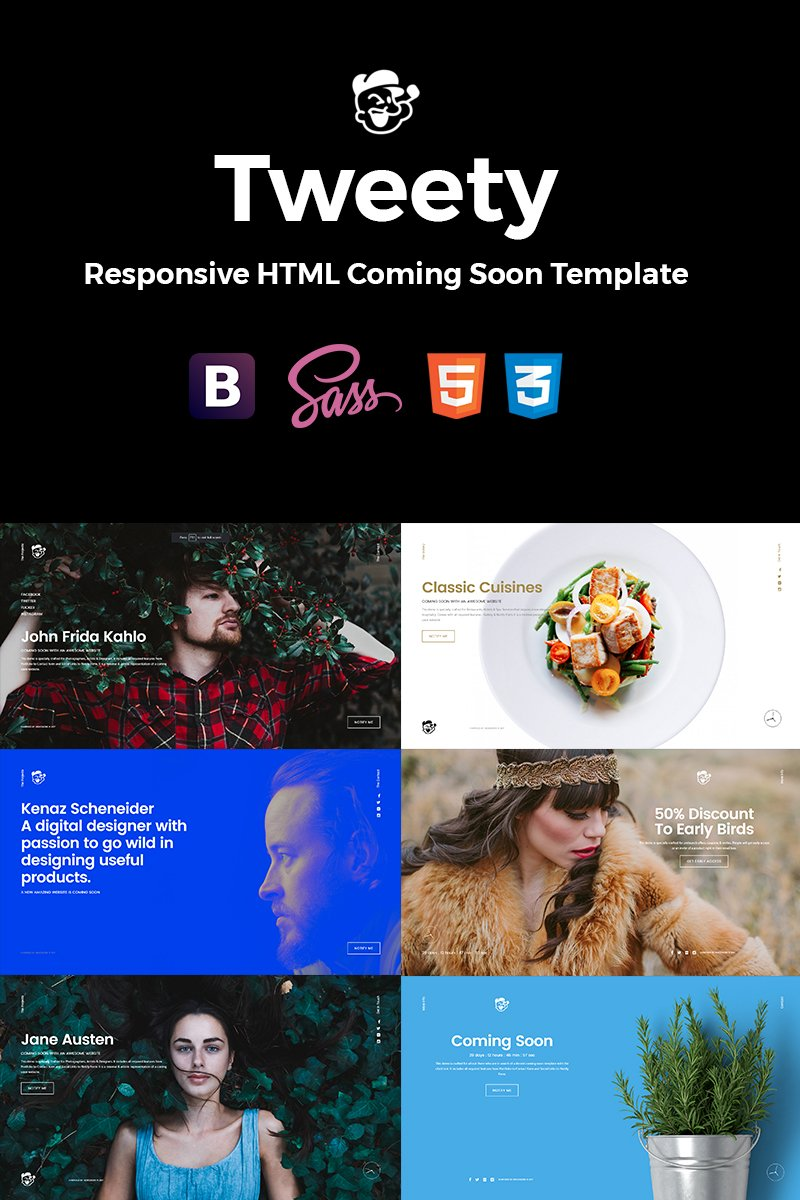 """Tweety - Next Level Multi-Concept HTML5 Landing Page"" Landingspagina Template №64637"
