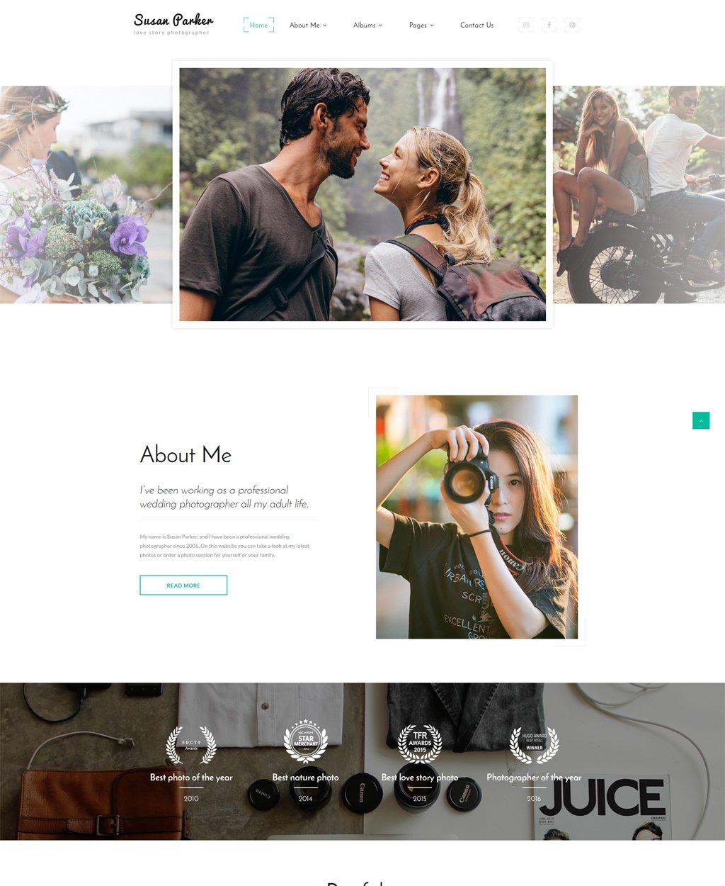 """Website Vorlage namens """"Susan Parker - Lovestory Photographer Multipage"""" #64615"""
