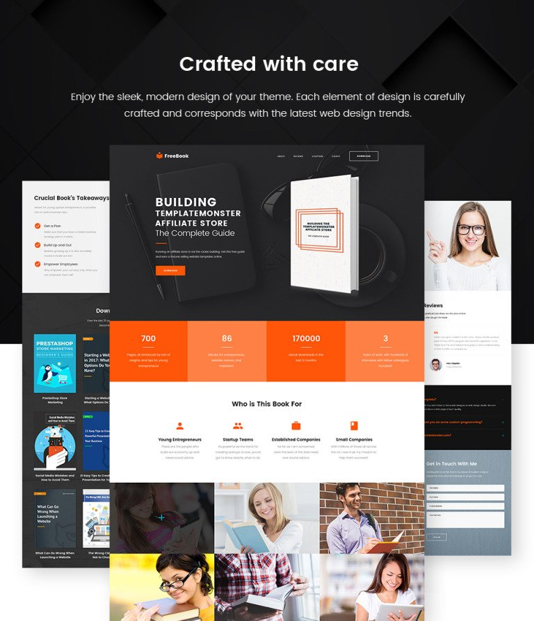 Free E-book Landing Page WordPress Theme