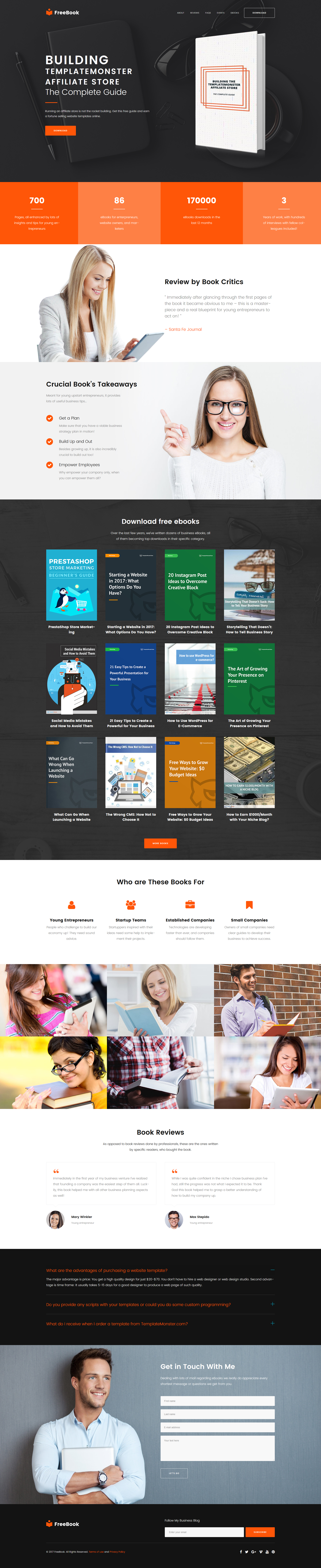 Website Design Template 64763 - blogging landing education books startap company
