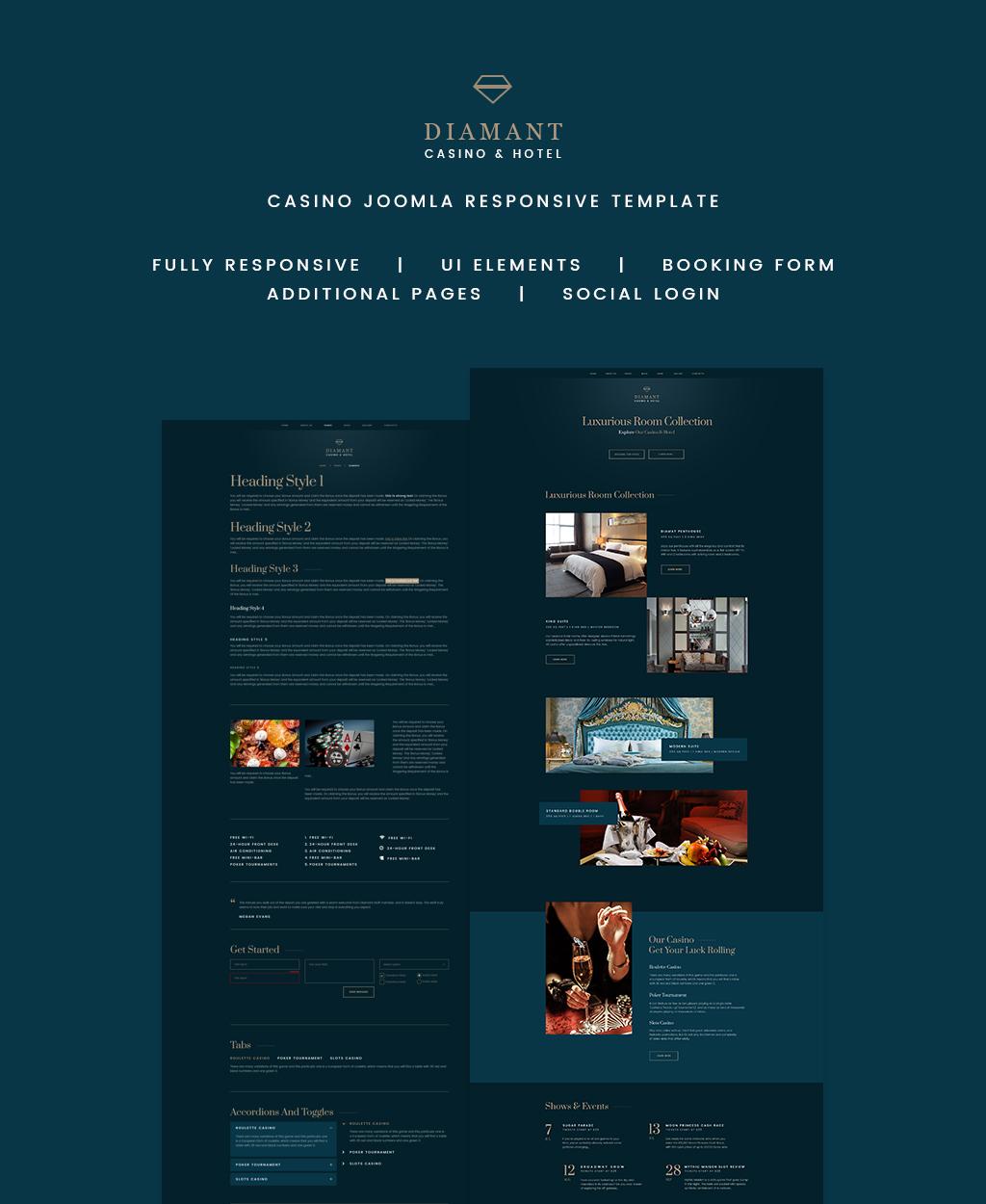 """Diamant - Casino & Hotel"" - адаптивний Joomla шаблон №64731"