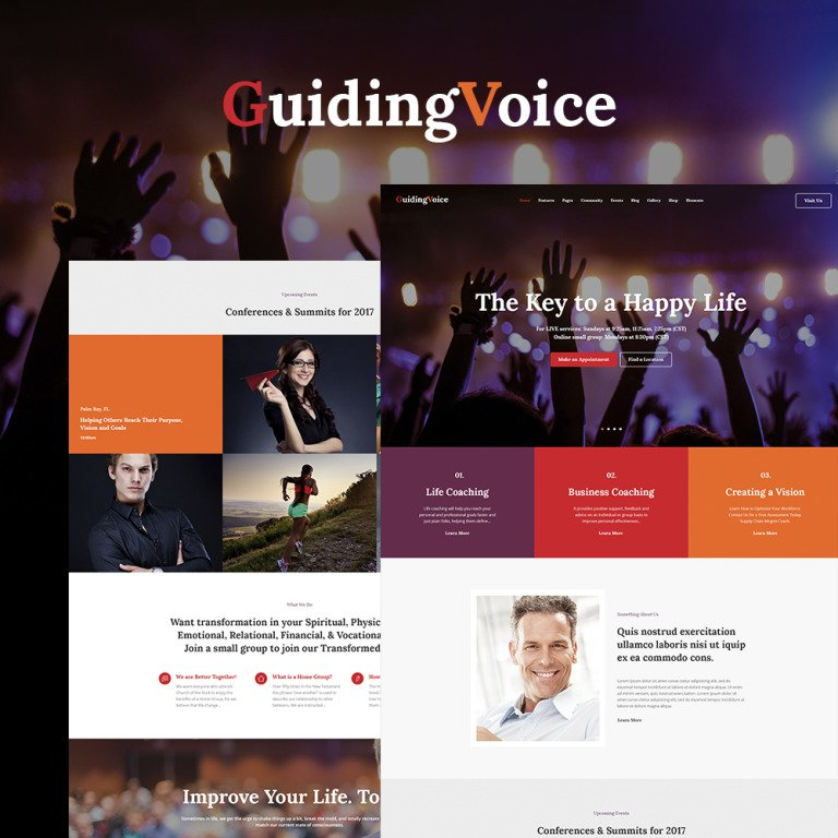 Guiding Voice - Life Coach WordPress Theme Smartphone Layout 1