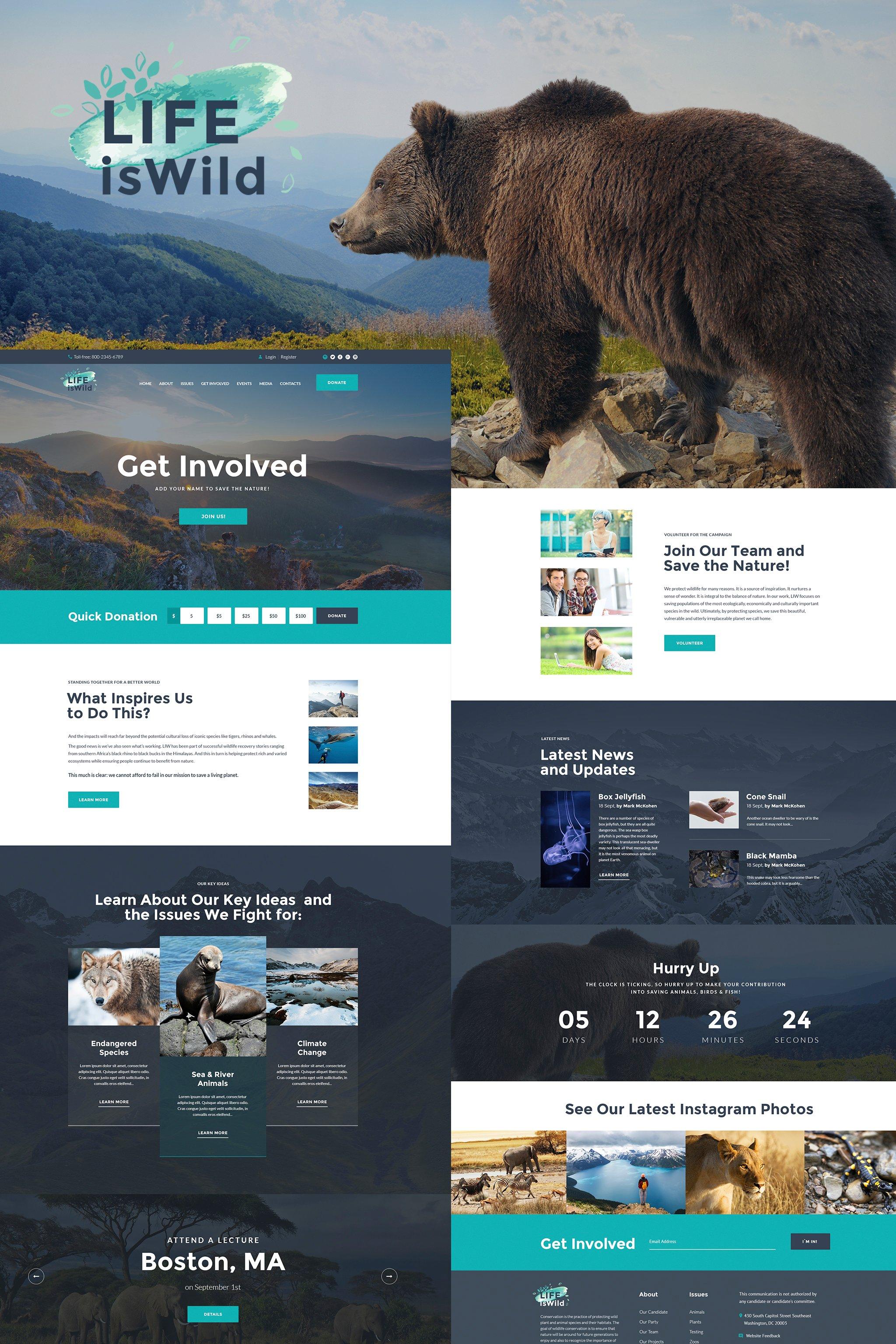 LifeisWild - Wild Life WordPress Theme №64785
