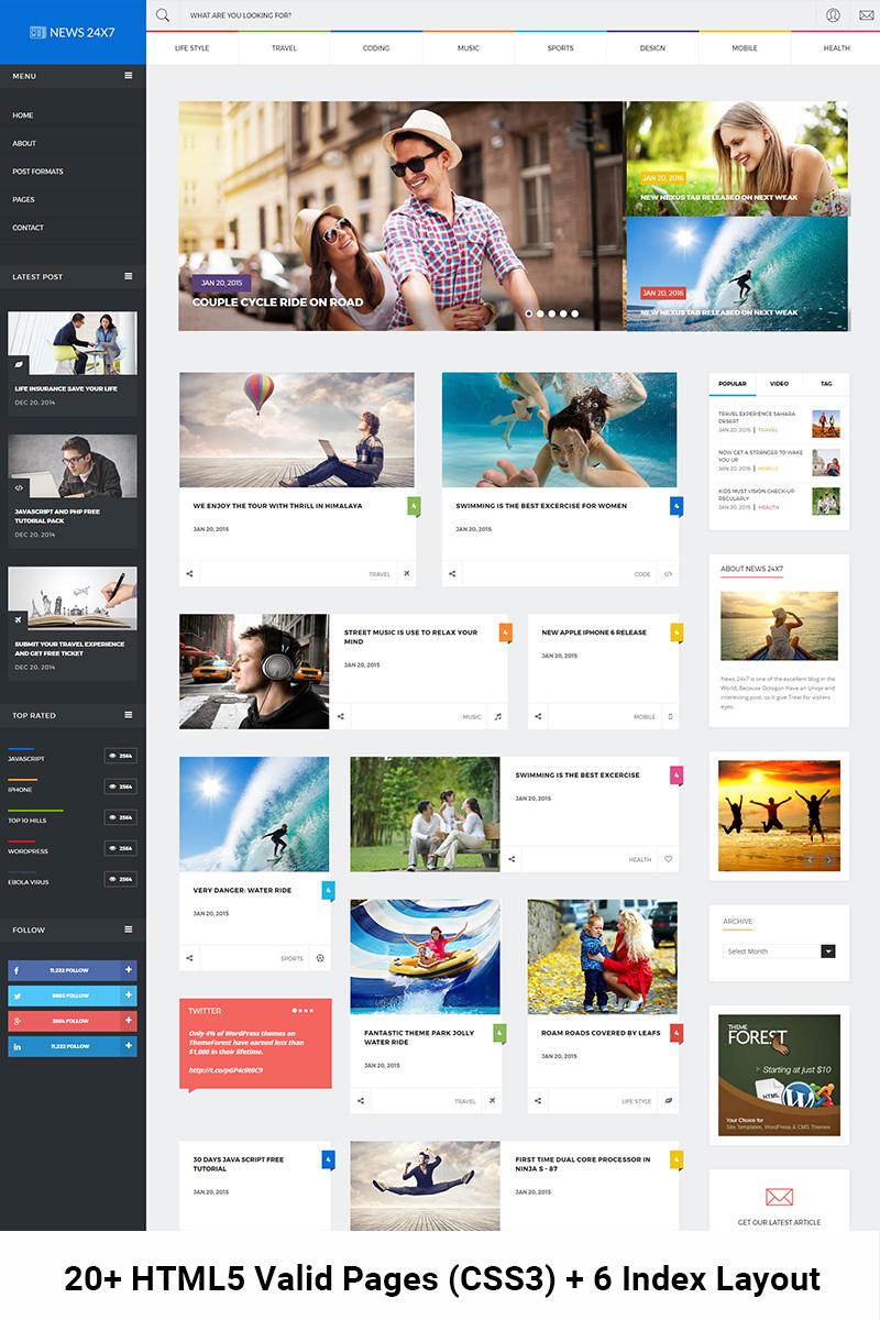 """News 24x7 - Trendy Blog, News & Magazine"" - адаптивний Шаблон сайту №64738"