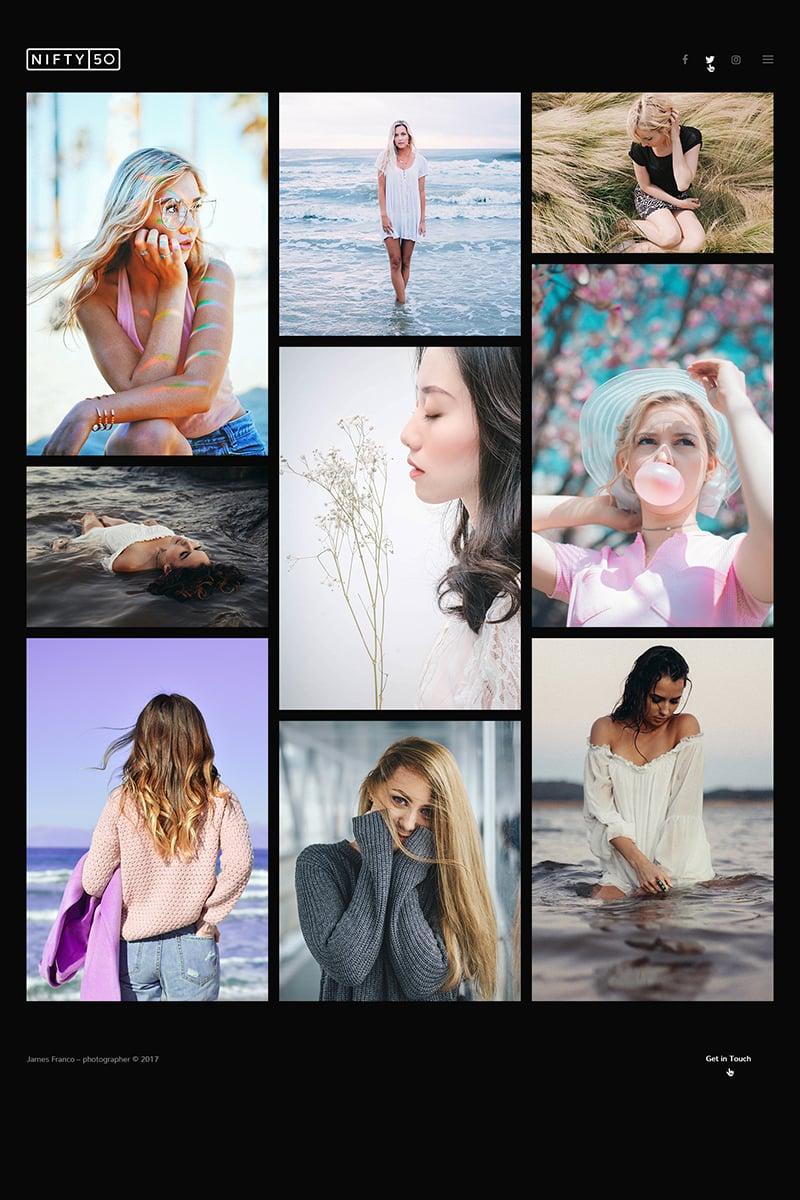 Nifty Fifty - Photography WordPress sablon 64743 - képernyőkép