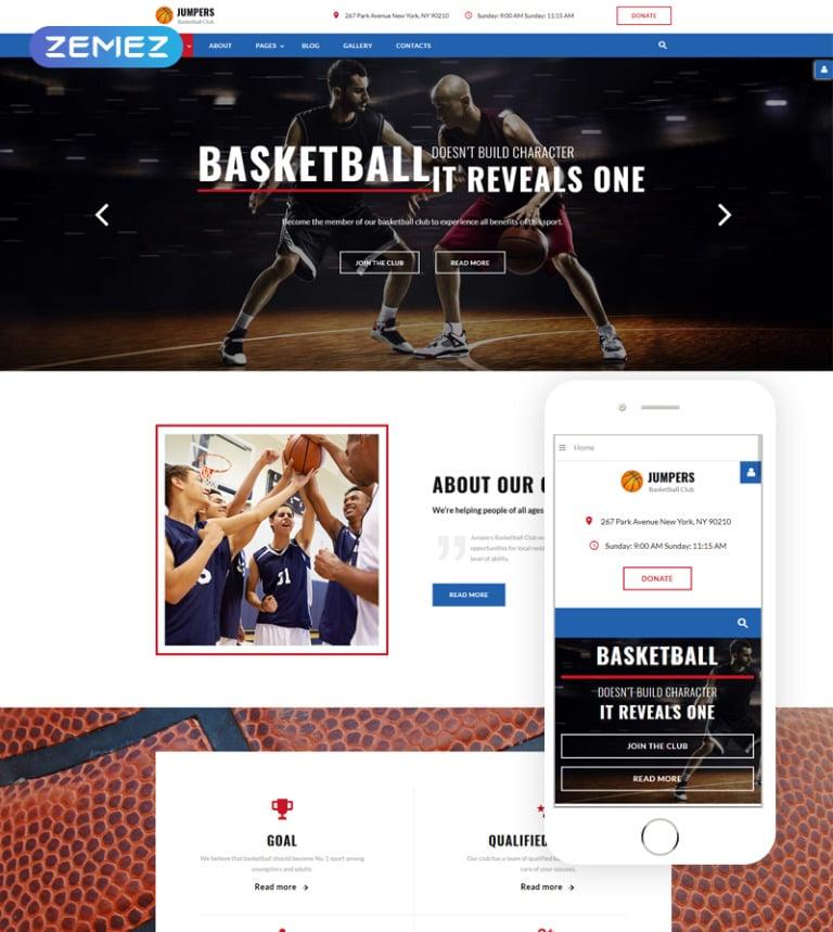 Responsive Joomla Vorlage für Basketball