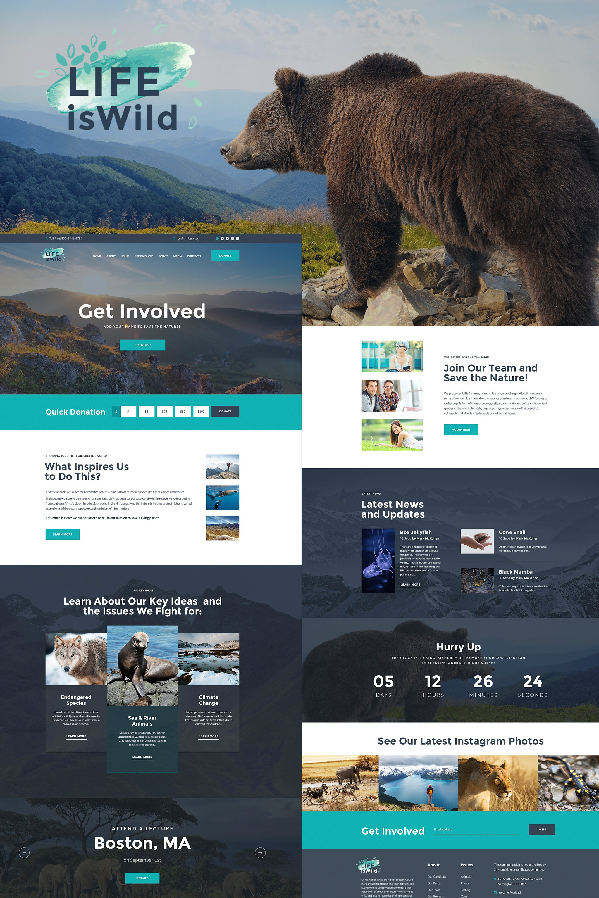 Responsive LifeisWild - Wild Life WordPress Theme #64785