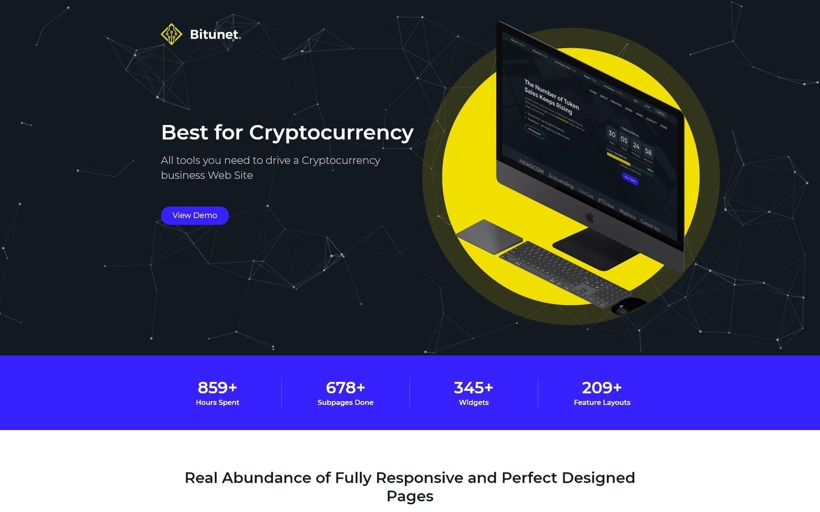 Responsivt Bitunet - Cryptocurrency Elementor WordPress Theme WordPress-tema #64787 - skärmbild