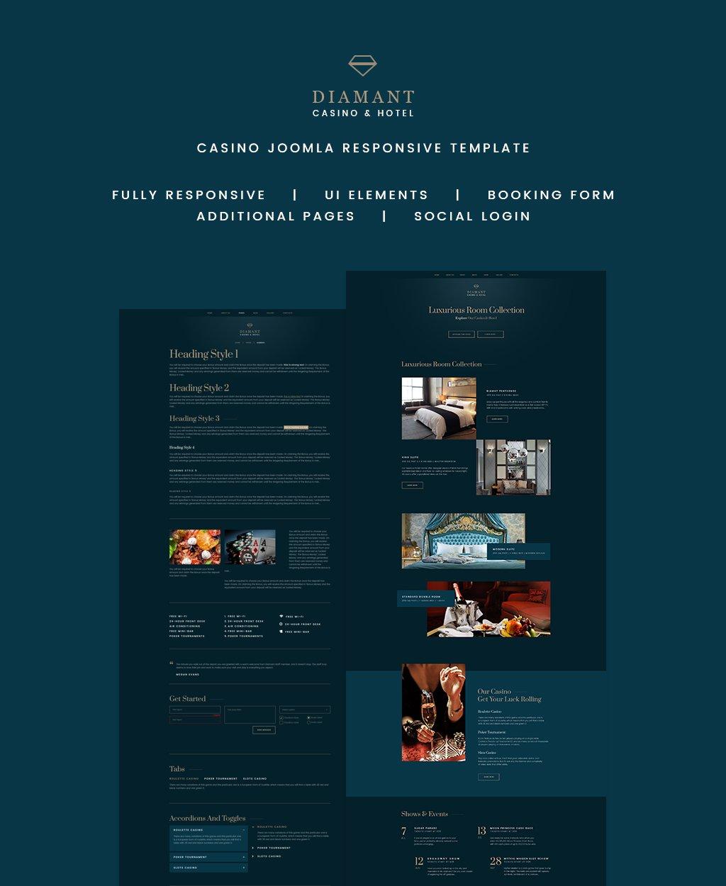 Responsywny szablon Joomla Diamant - Casino & Hotel #64731 - zrzut ekranu