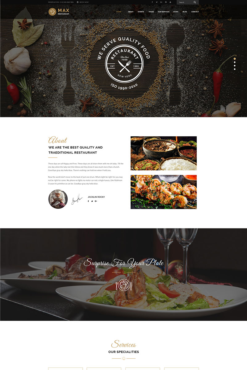 Restaurant - Responsive WordPress Theme WordPress Theme - screenshot