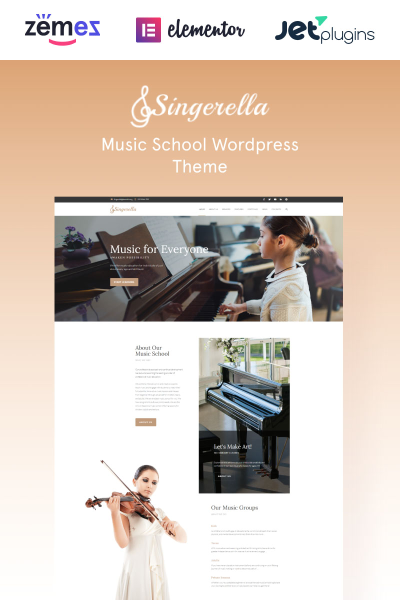 Singerella - Music School Tema WordPress №64732