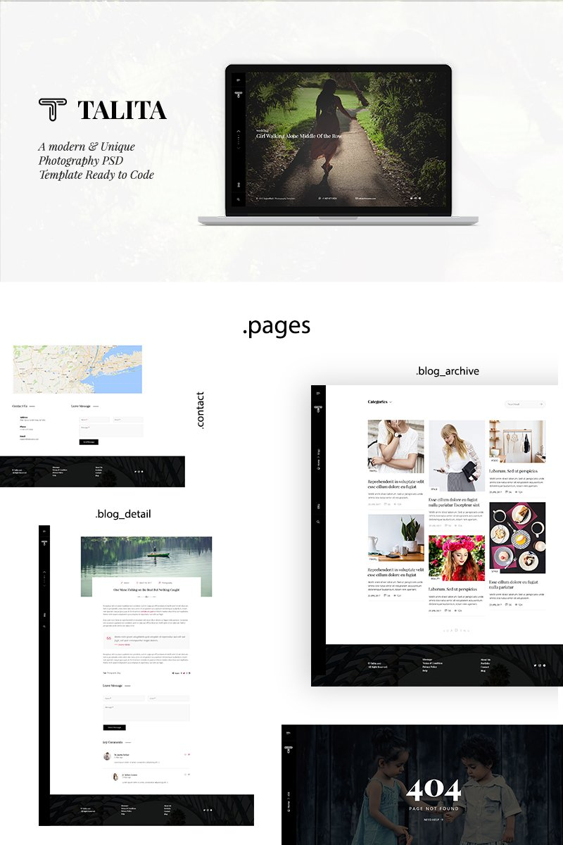 """Talita-Modern and One Page Photography PSD Template"" - PSD шаблон №64737"
