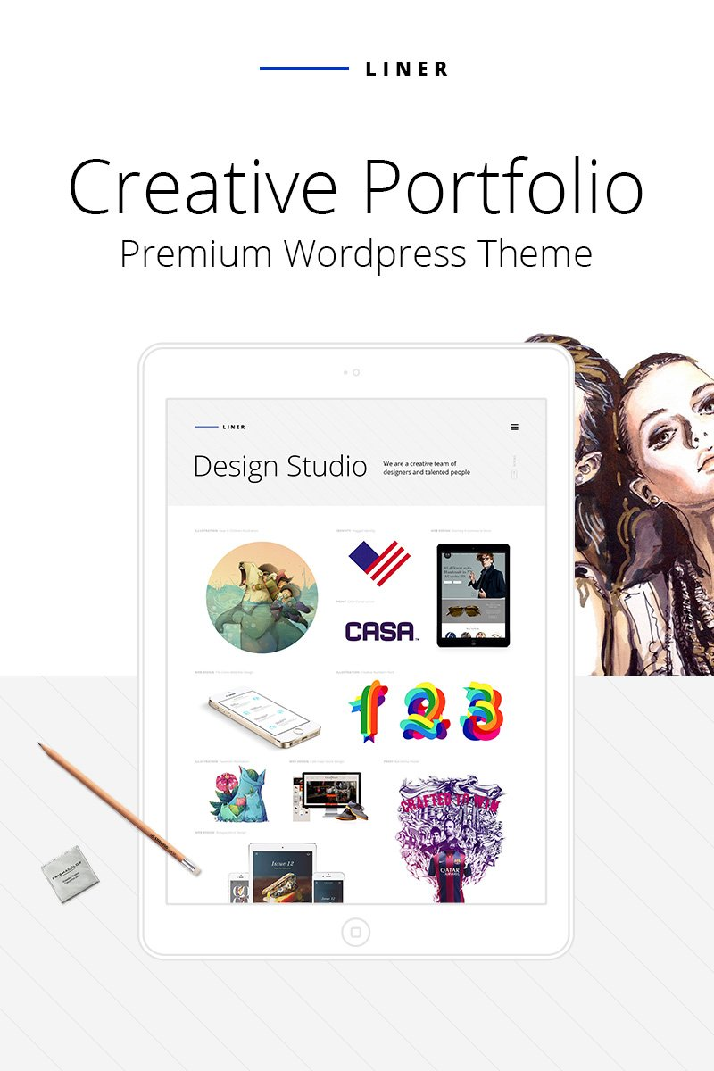 "Tema De WordPress ""Liner - Creative Clean Portfolio"" #64740"