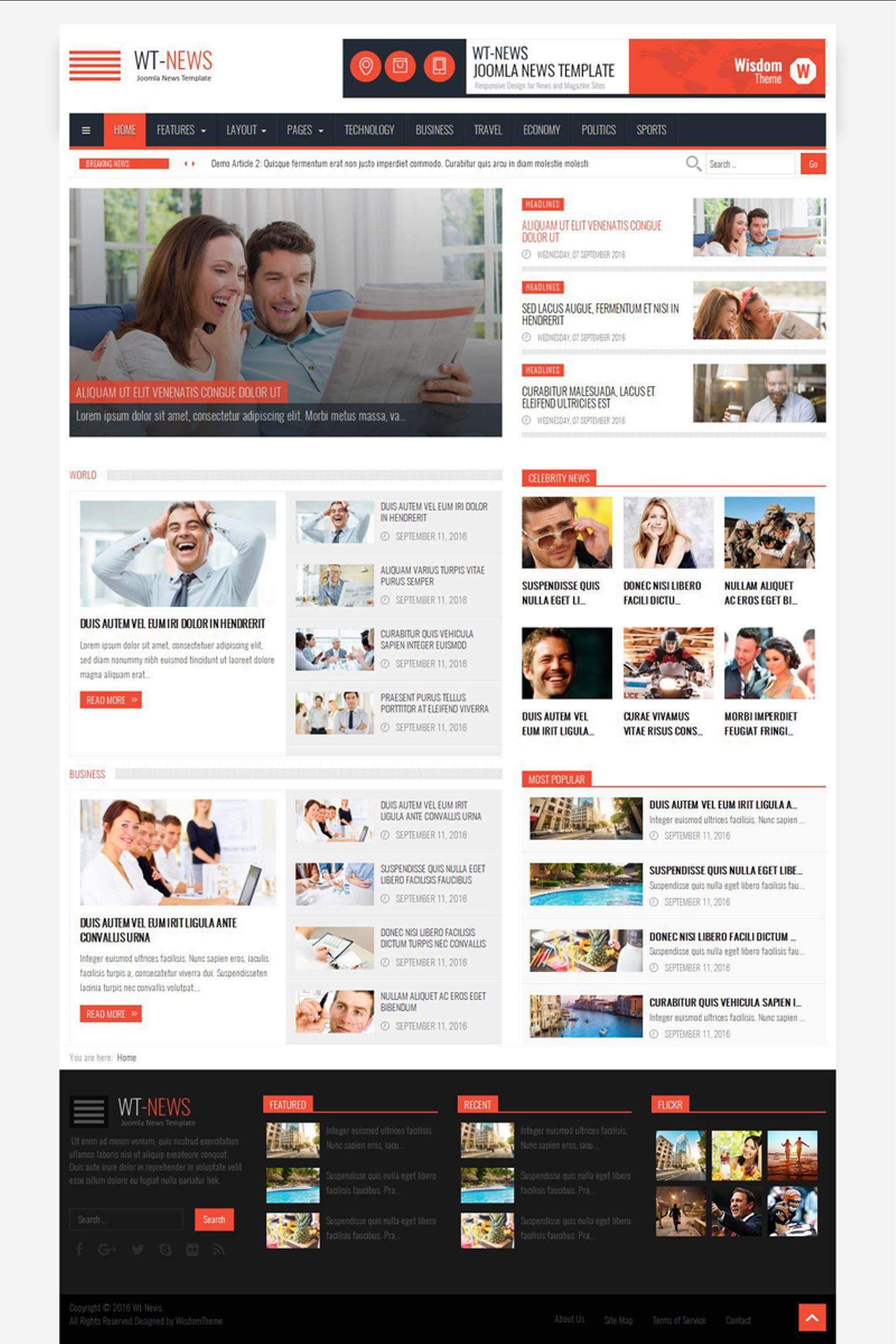 "Tema Joomla Bootstrap #64767 ""WT-News News And Magazine"""