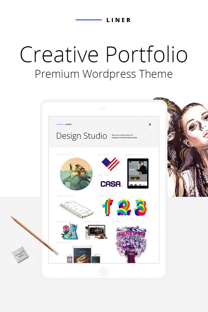 "Tema WordPress Responsive #64740 ""Liner - Creative Clean Portfolio"""