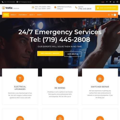Voltix - Electrical Services WordPress Theme - HTML5 WordPress Template