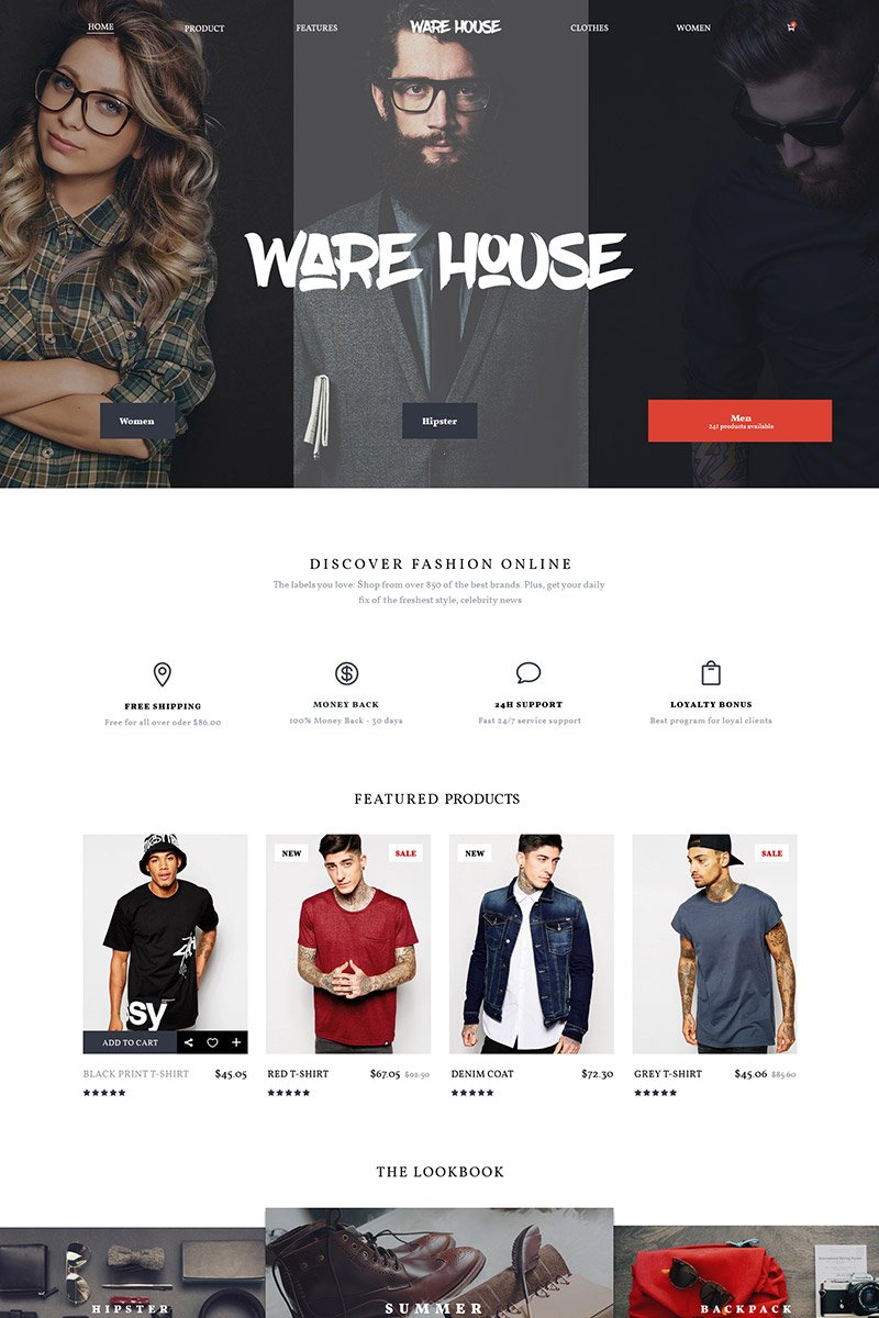 Warehouse – multipurpose ecommerce PSD template PSD Template