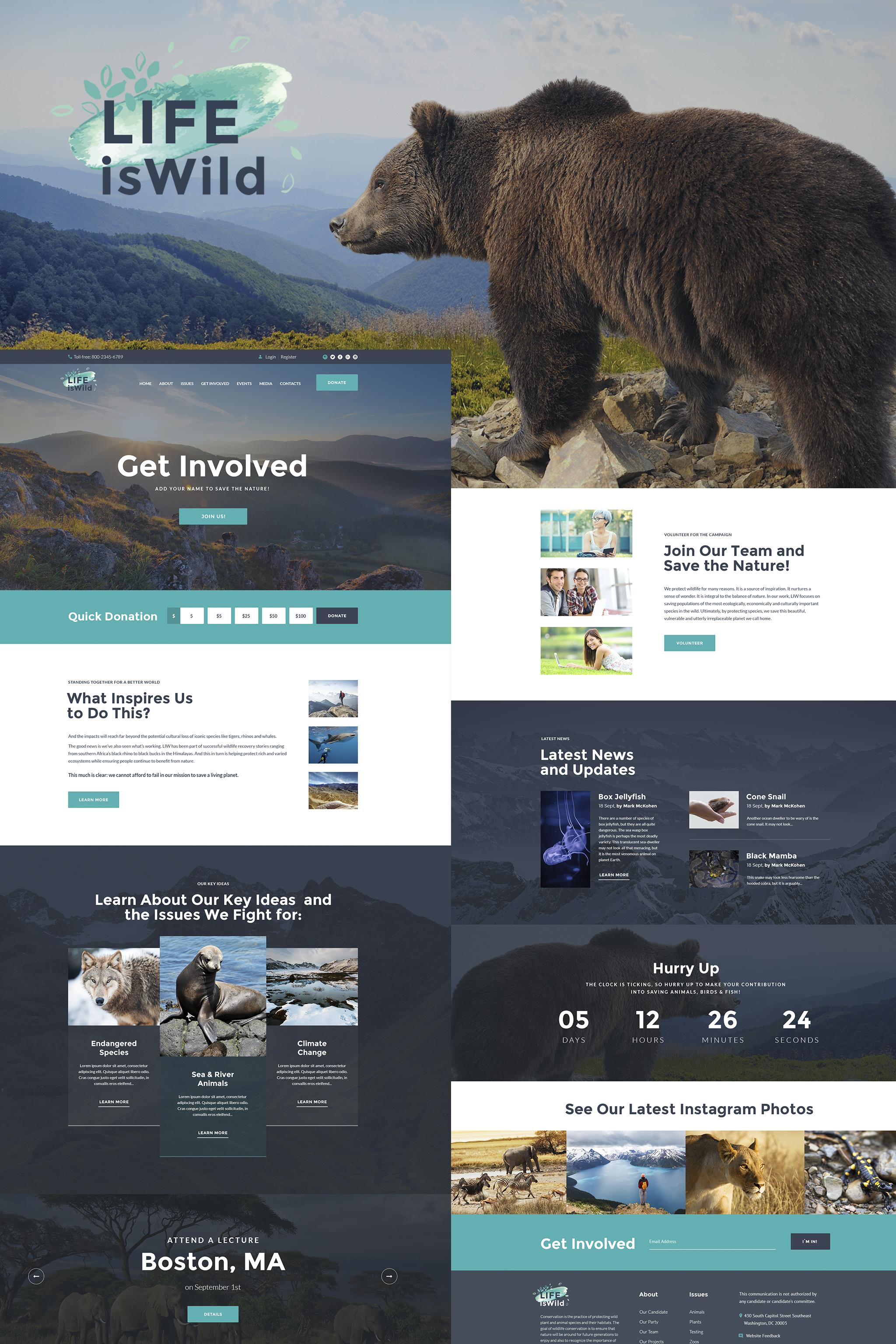 """WordPress Theme namens """"LifeisWild - Wild Life WordPress Theme"""" #64785"""