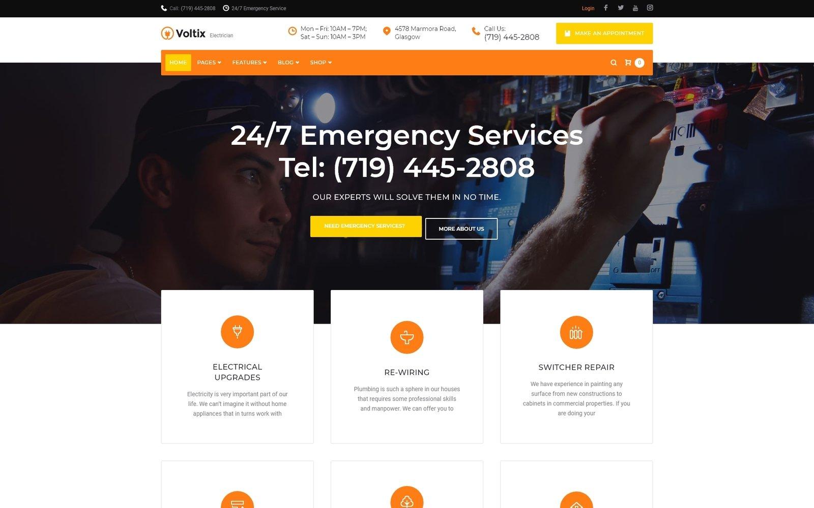 """WPML Ready WordPress motiv """"Voltix - Electrical Services WordPress Theme"""" #64791"""
