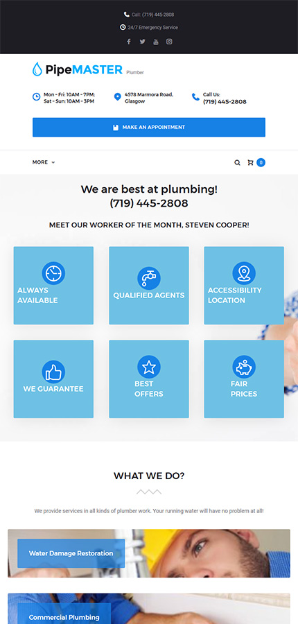 PipeMaster - Plumbing Services WP Theme WordPress | Website Templates