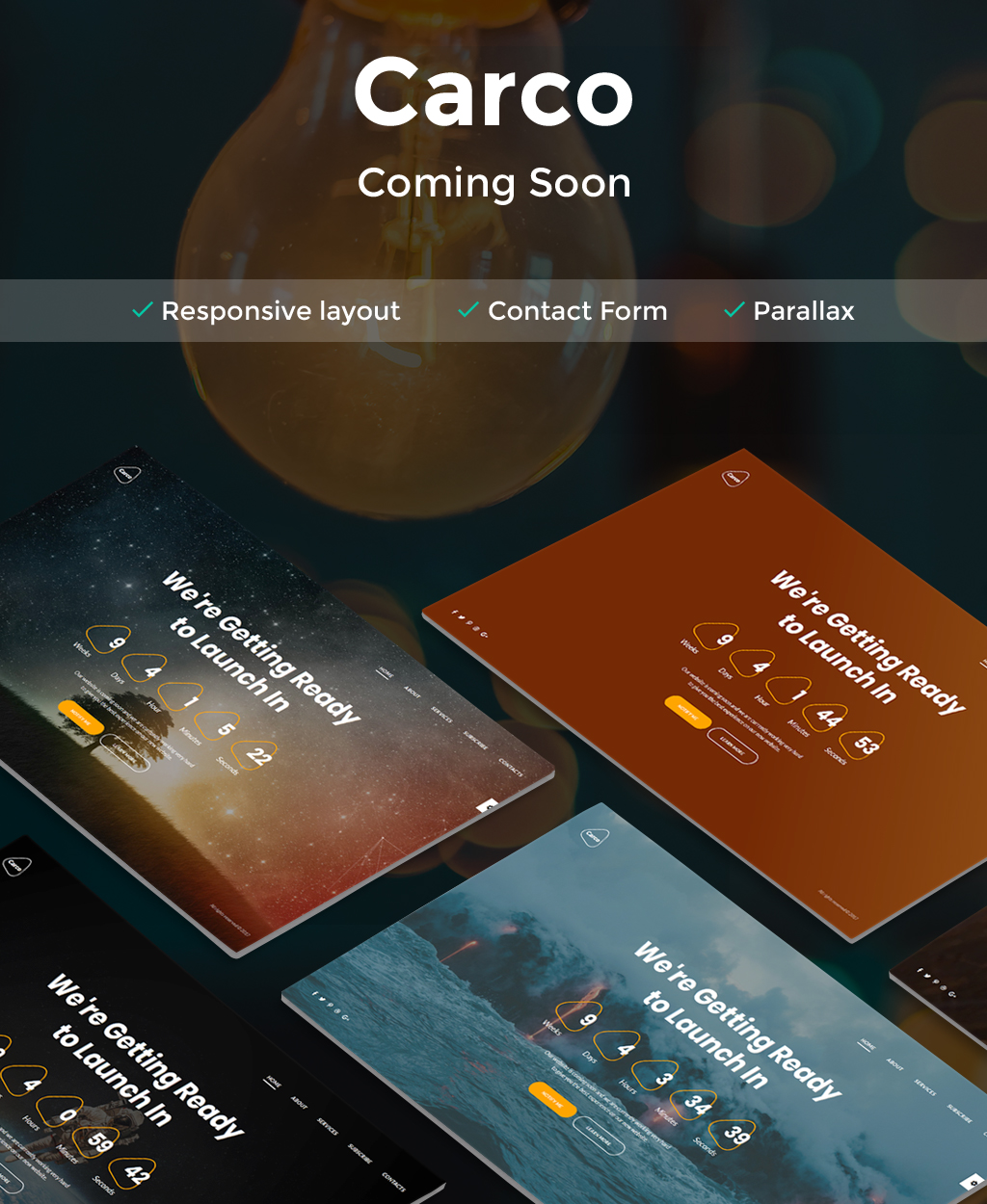 """Carco - Coming Soon HTML5"" Responsive Speciale pagina №64894"