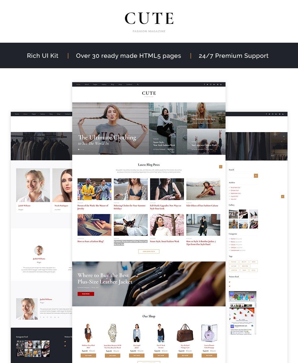 """""""Cute - Fashion Magazine Multipage HTML5"""" modèle web adaptatif #64838"""