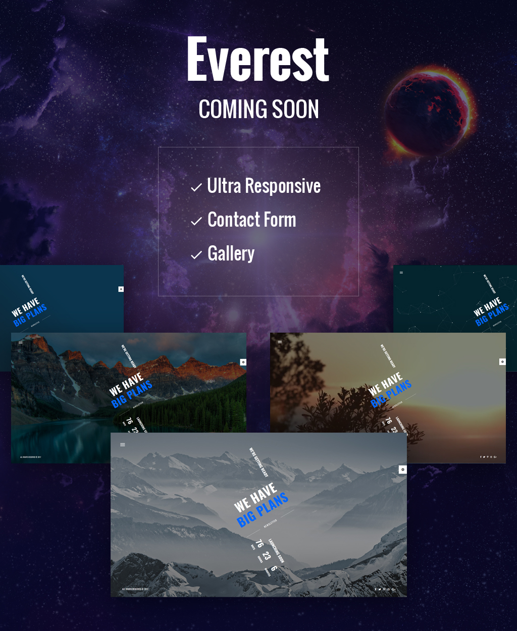 """Everest - Coming Soon HTML5"" Responsive Speciale pagina №64896"