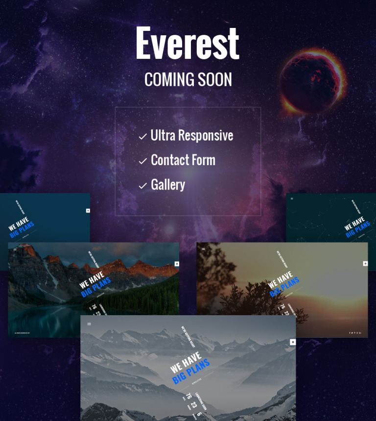 Everest - Coming Soon HTML5 Specialty Page