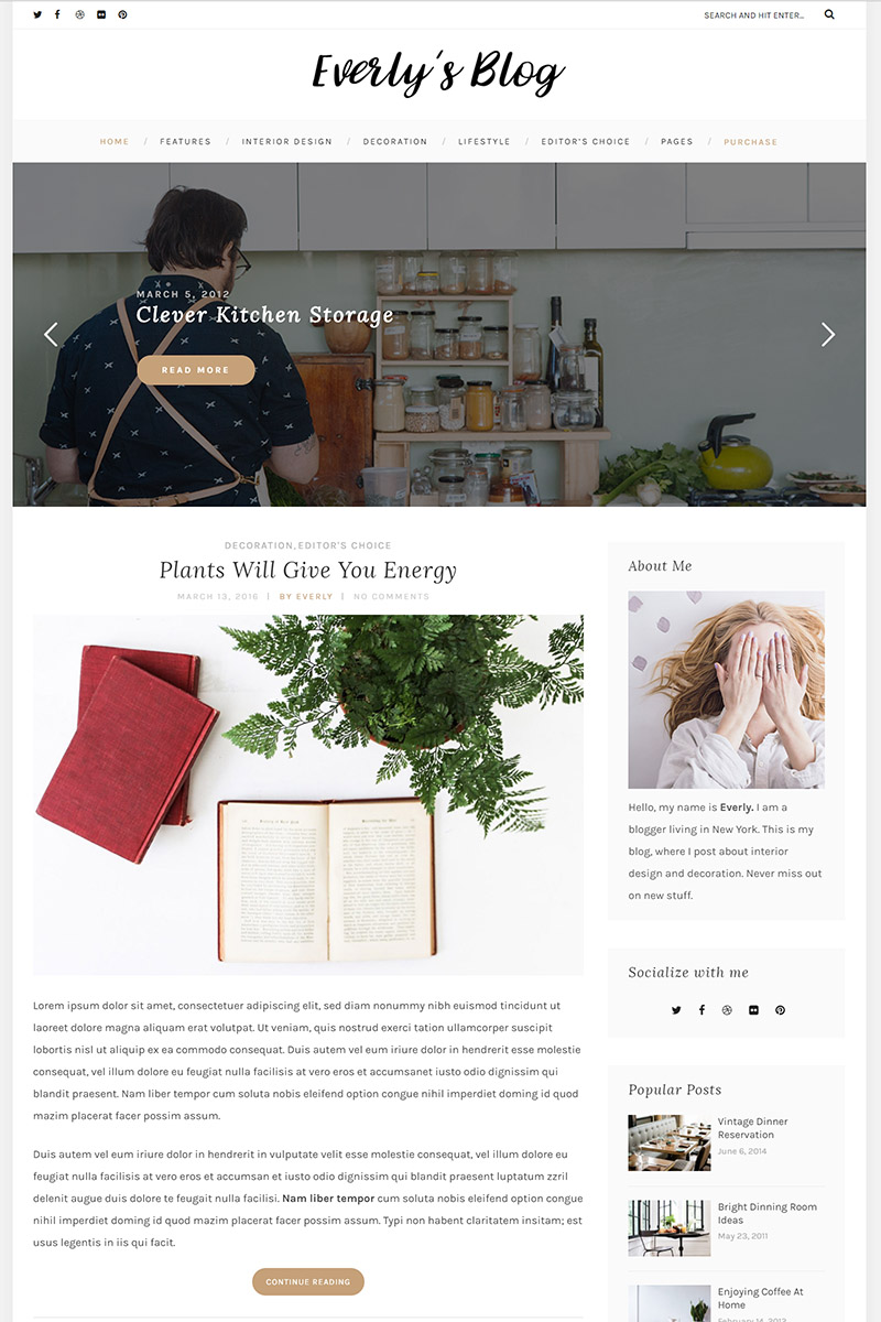 """Everly - Hipster Blog"" 响应式WordPress模板 #64879"