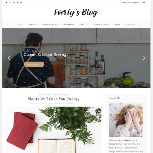 Everly's Blog - Responsive WordPress Template