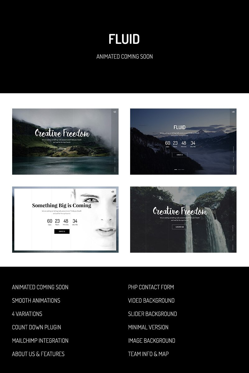 Fluid — Animated Coming Soon Template Website Template