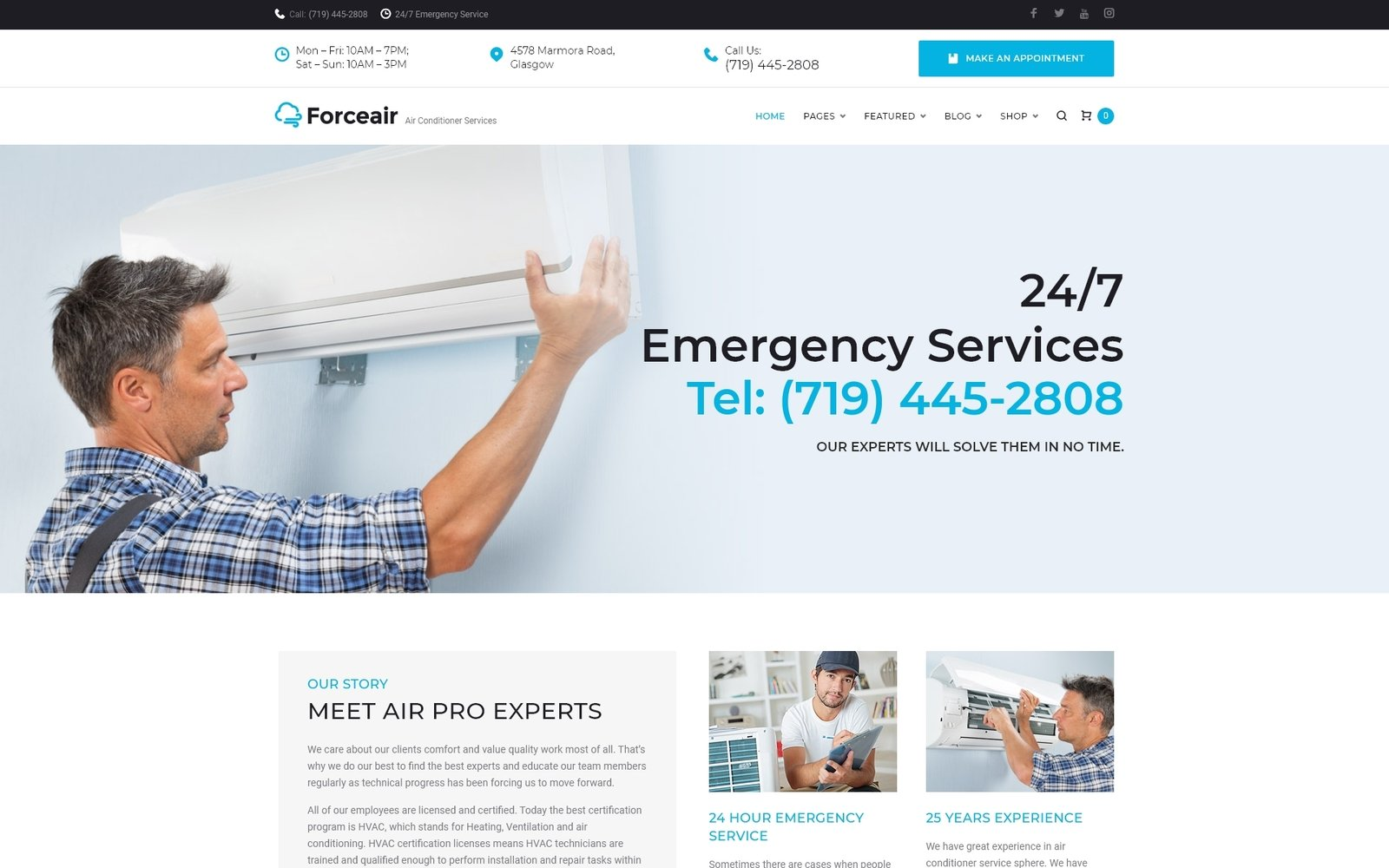 """Forceair - Air Conditioner Services"" Responsive WordPress thema №64814"