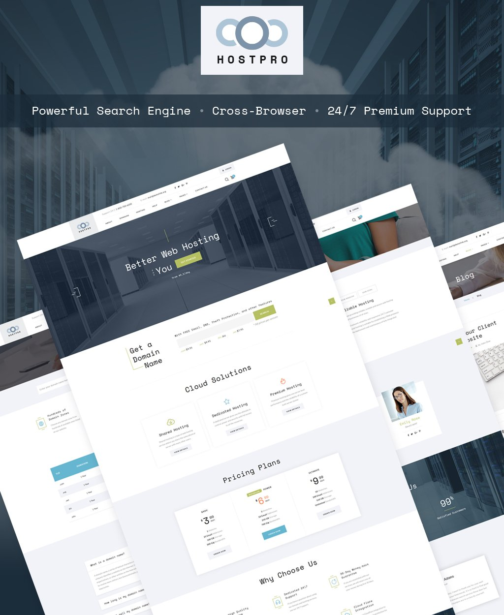 Hostpro - Domain and Hosting HTML Website Template - screenshot