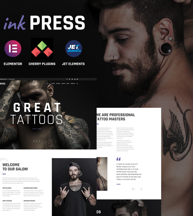 Tema de WordPress #64885 para Sitio de Salones de tatuaje